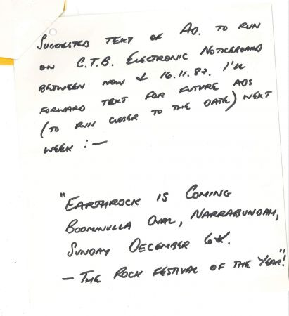 Handwritten note regarding advertising for Earthrock