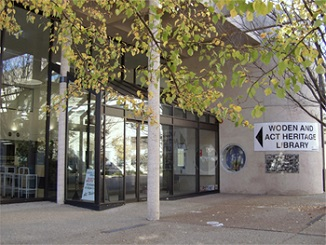 Entrance to Woden Library and ArchivesACT
