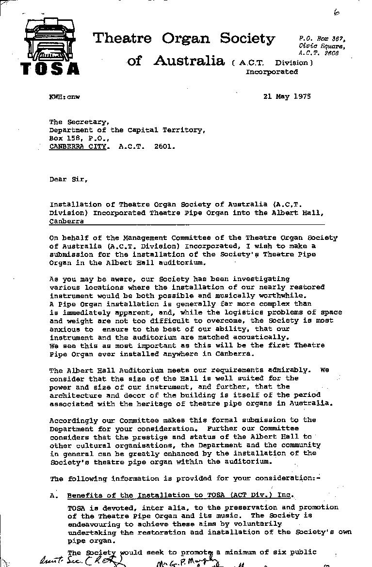 Theatre Organ Society of Australia (ACT) : Proposal to install a pipe organ in the Albert Hall 21/05/1975 - page 1