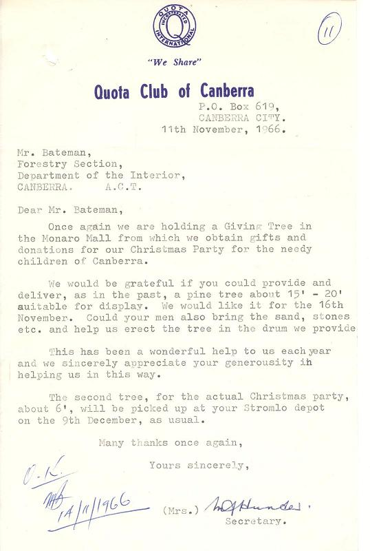 Quota Club of Canberra request for Christmas Tree 11/11/1966