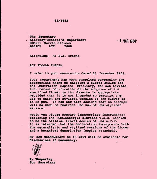 Memorandum 01/03/1984 : ACT Floral Emblem
