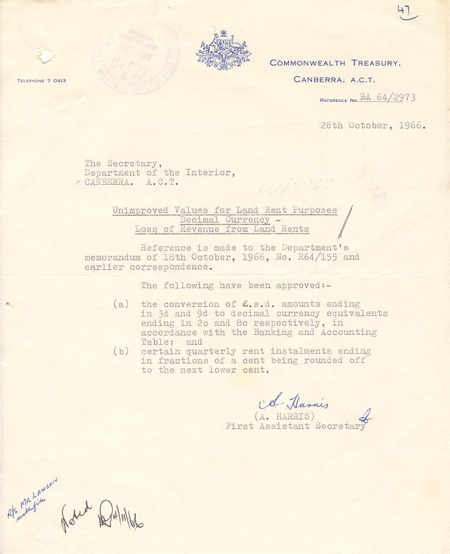 Commonwealth Treasury Letter 26/10/1966 : Unimproved Values for Land Rent Purposes : Decimal Currency - Loss of Revenue from Land Rents