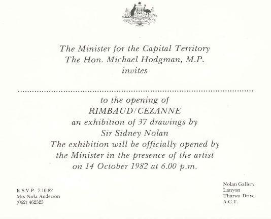 Rimbaud-Cezanne Nolan Exhibition Opening 14-10-1982