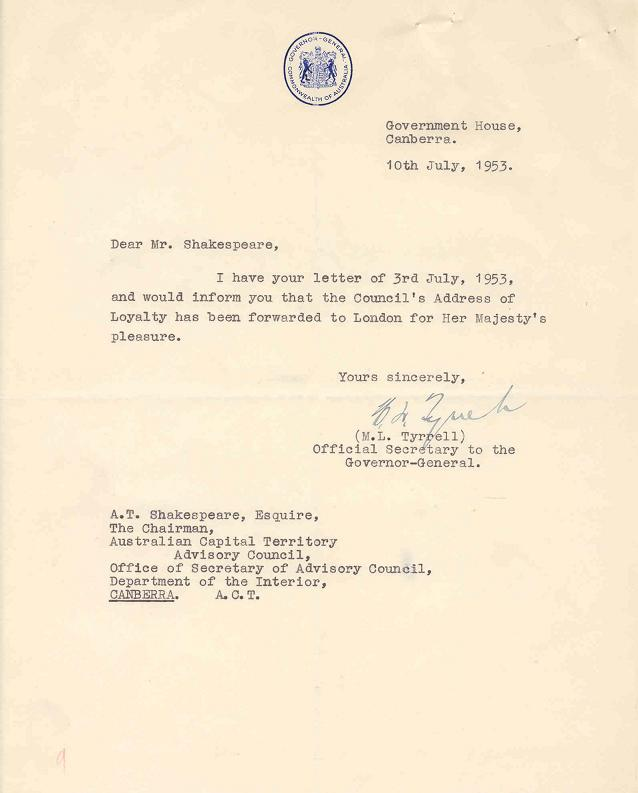 A3392-933 - Advisory Council - Loyal Greetings to Her Majesty the Queen - HRH Duke of Gloucester - Gov General - Addresses of Welcome, etc - Letter 10/07/1953