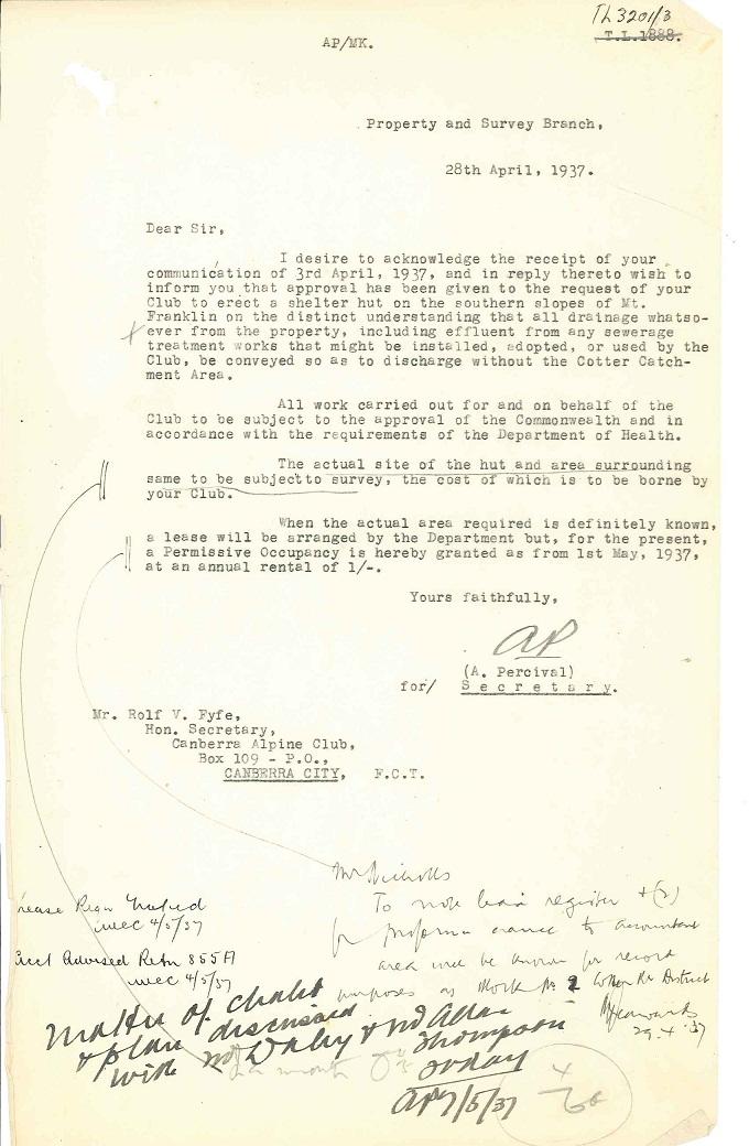 Parks Reserves & Public Places - Liaison - Lands Branch - Cotter River - Canberra Alpine Club - Block 2 & 4 (Mt Franklin Chalet) 1935-1957 pt.1 L: folio 28-04-1937