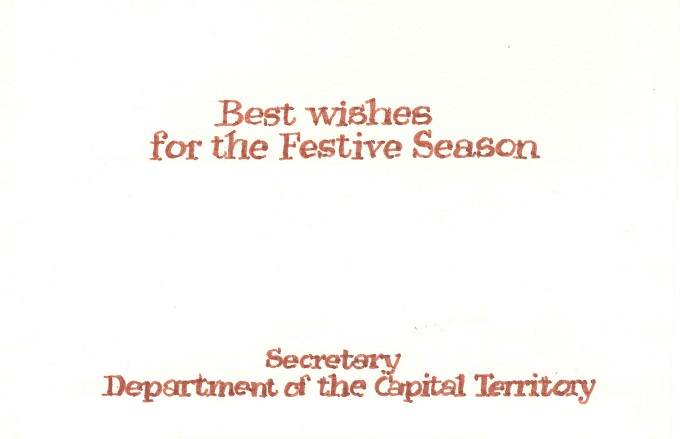 Department of Capital Territory 1983 Christmas Card - inside