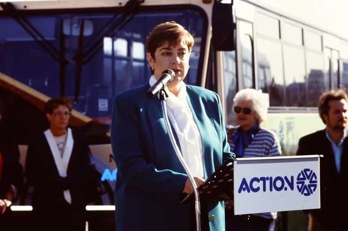 Rosemary Follett launching the PSE Community Credit Union Downtowner Tram in 1992
