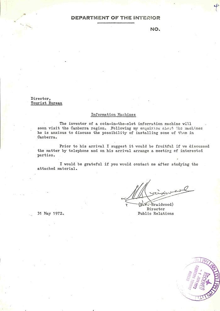 72/122 - Canberra Tourist Bureau - Information Machines - folio 4