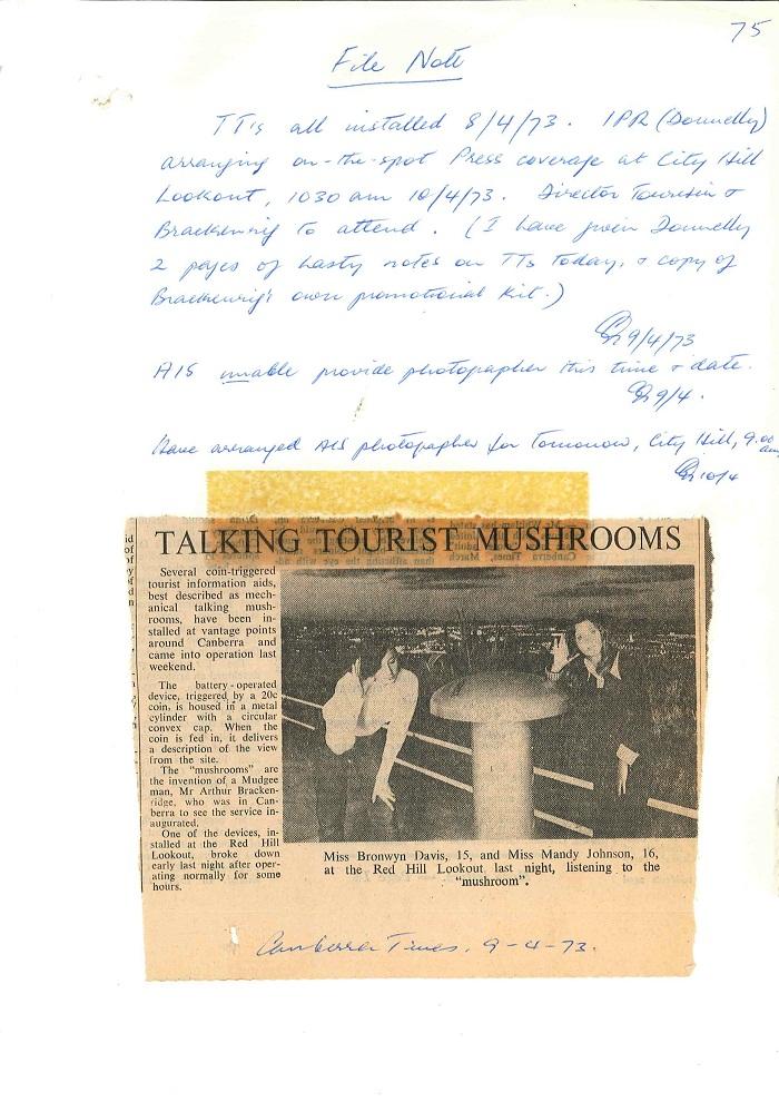 73/43 - ACT Tourist Bureau - Information Machines (Talking Toadstools) - folio 75