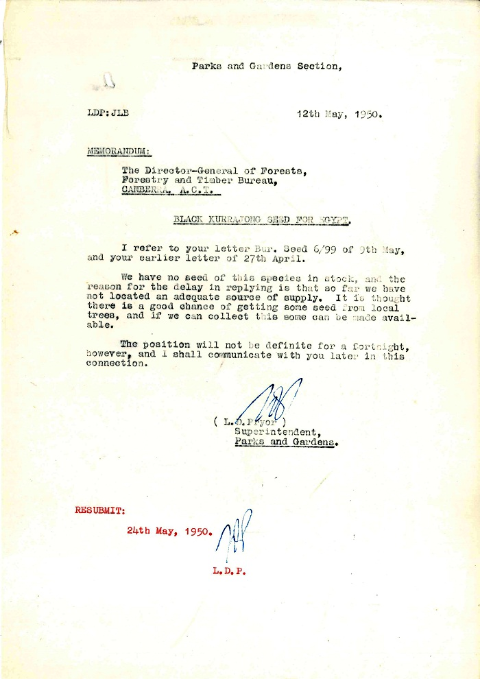 Memo to Director-General of Forests from Lindsay Pryor 12th May 1950