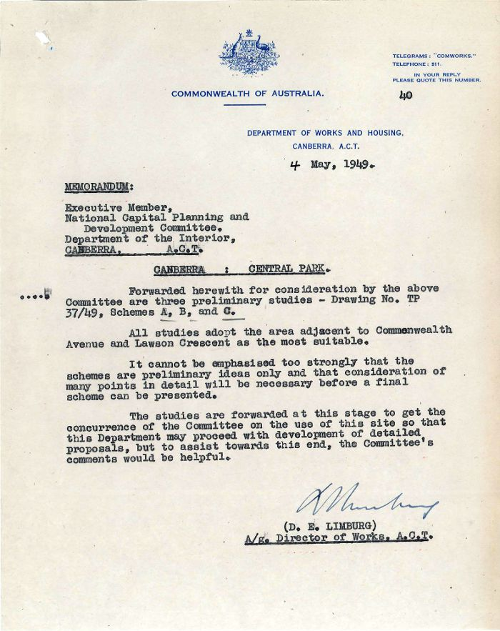 Memo from D.E. Limburg dated 4th May 1949