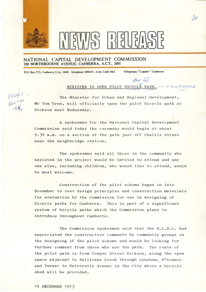 NCDC News Release: Minister to Open Pilot Bicycle Path - 14 December 1973 Page 1