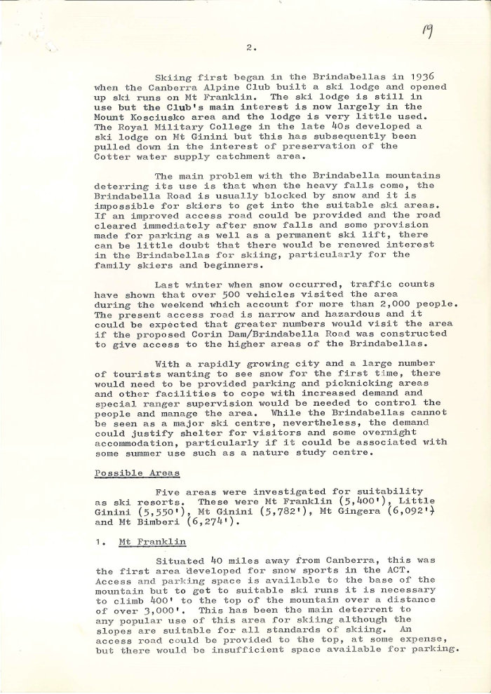 Minute Paper - Snow Resorts in the ACT by K.W. Storey dated 13/01/1972 page 2