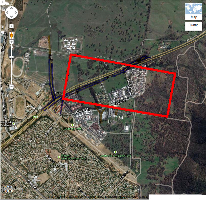 Google Maps image of area c2013 with Gungahlin Block 98D boundary in red