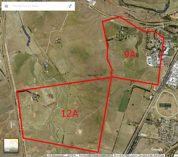 Google Maps image of area c2014 with Woden Blocks 9A and 12A boundary in red