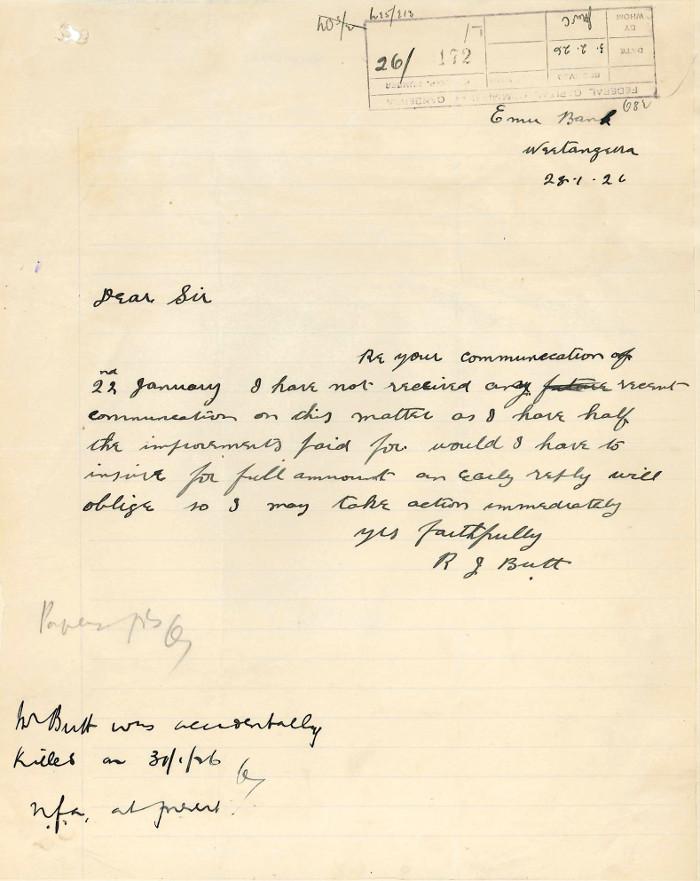 Letter from Robert Butt to James Brackenreg date the 28th January 1926