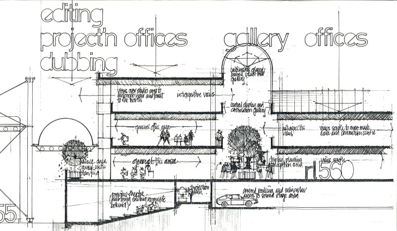 Cross section of Studio City's Administration Block from CCN's Design Study No.3