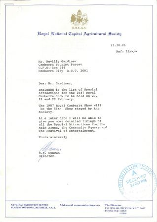 Canberra Show 1987 event planning letter