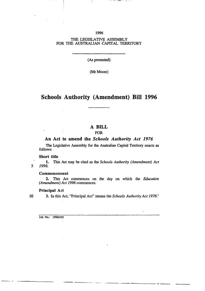 Page 1 schools act amendment 1996