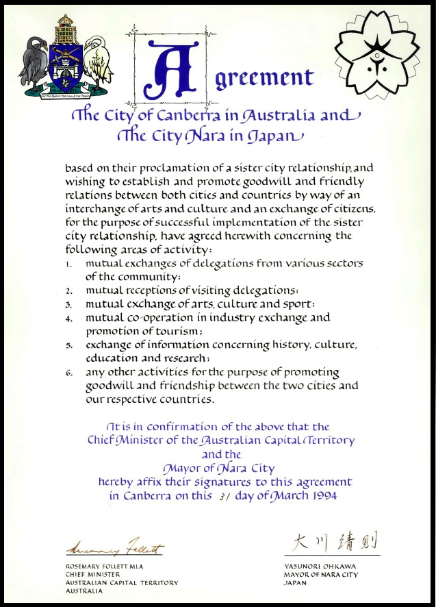 Agreement for Canberra - Nara Sister City Relations