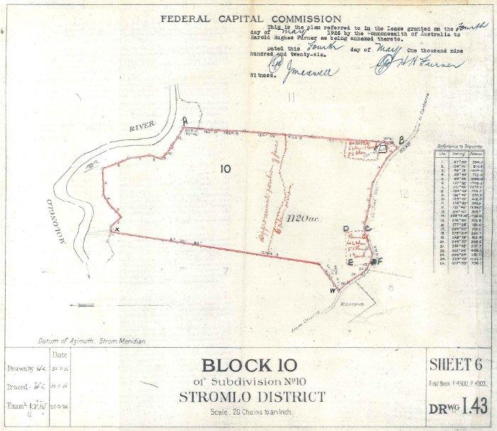 Plan of Stromlo Block 10