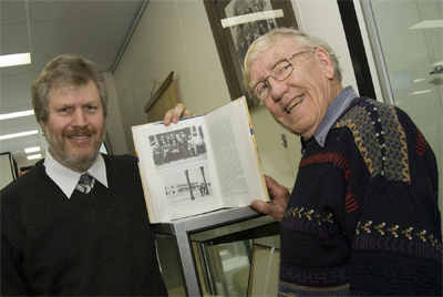 ArchivesACT's Mark Dawson with local historian Alan Foskett