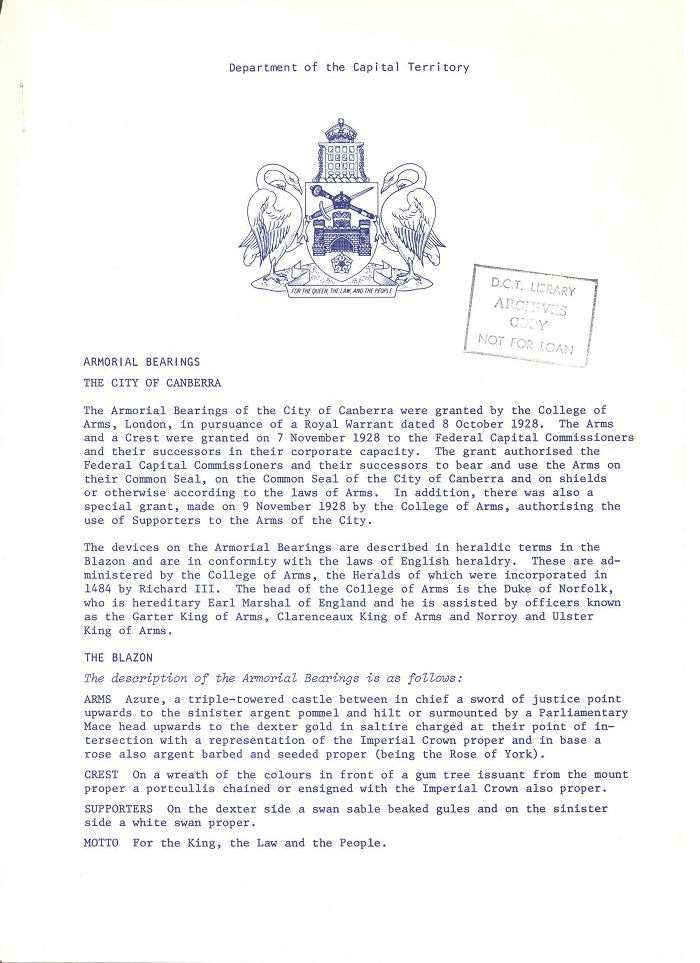 Armorial Bearings : The City of Canberra page 1