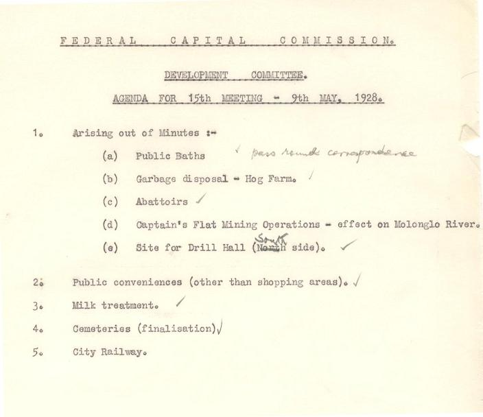 Federal Capital Commission Development Committee : Agenda for 15th Meetiing - 9th May, 1928