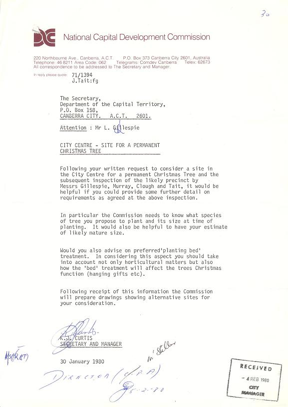 Letter from NCDC to Department of the Capital Territory 30/01/1980 : City Centre - Site for a Permanent Christmas Tree