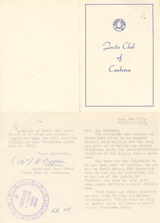 Thank You Card from the Quota Club of Canberra 02/1968