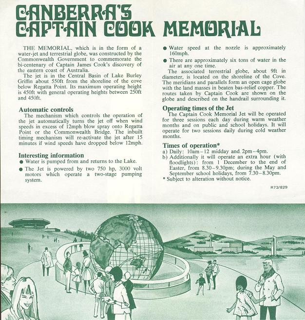 Canberra's Captain Cook Memorial - 1973 Brochure Text