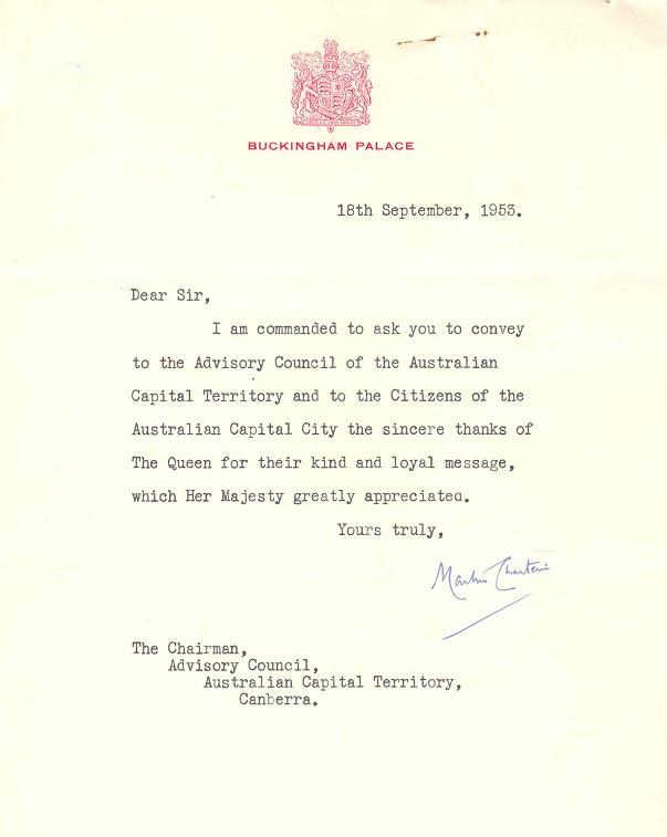 A3392-933 - Advisory Council - Loyal Greetings to Her Majesty the Queen - HRH Duke of Gloucester - Gov General - Addresses of Welcome, etc - Letter 18/09/1953