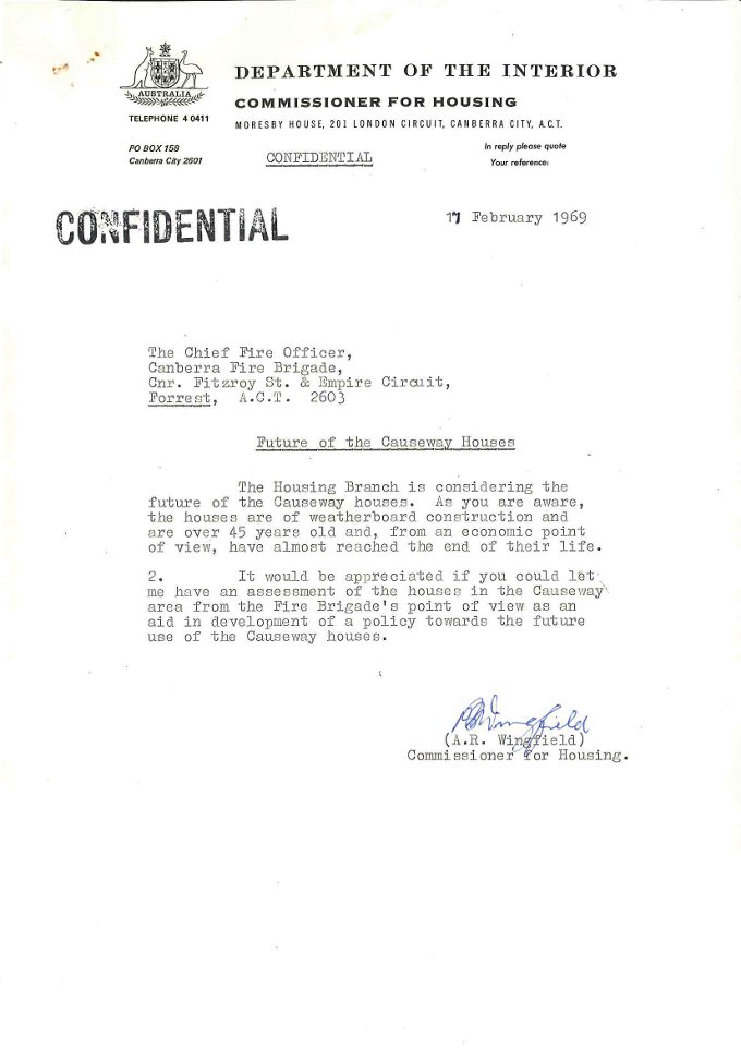 Department of the Interior Commissioner for Housing memo to the Chief Fire Officer - 17/02/1969