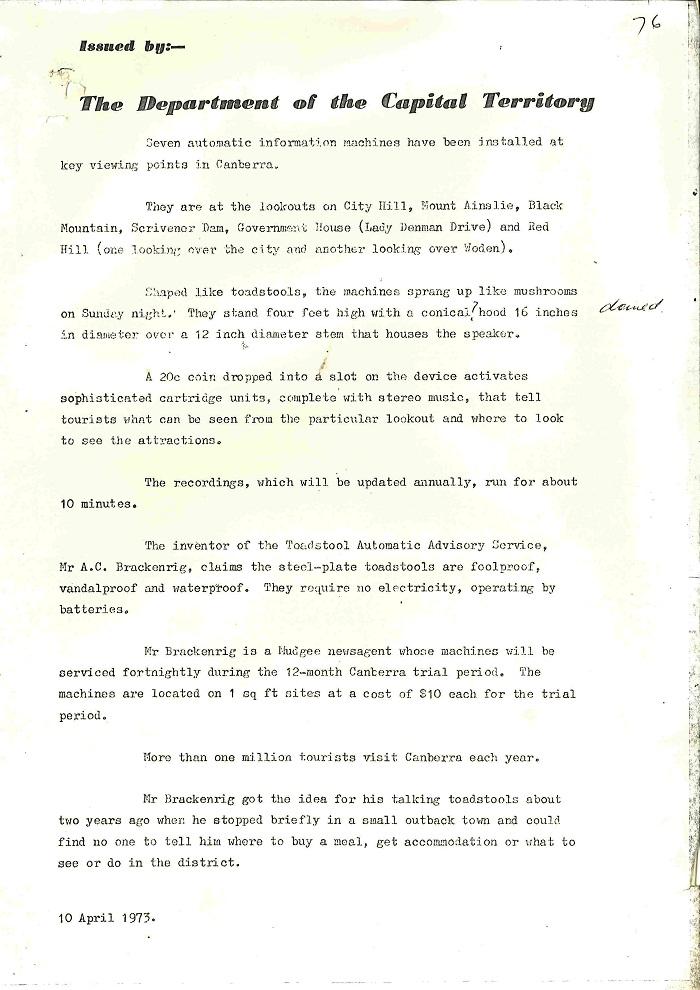 73/43 - ACT Tourist Bureau - Information Machines (Talking Toadstools) - folio 76