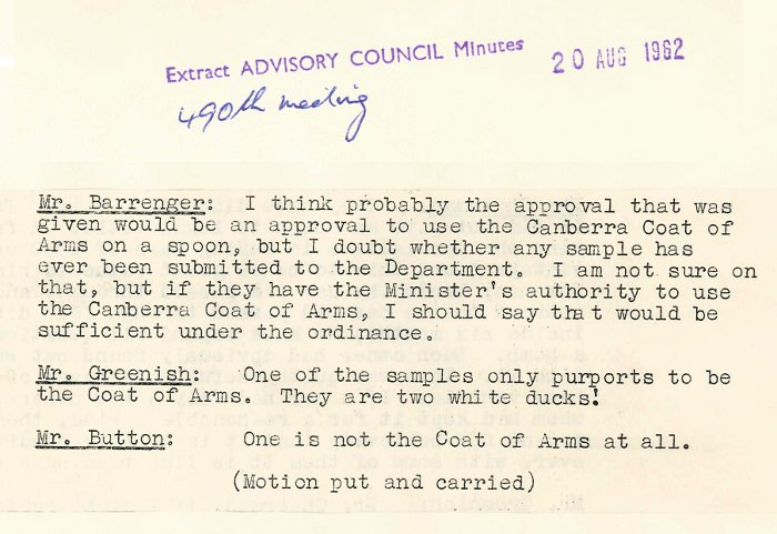 Excerpt from ACT Advisory Council Meeting 490 p.645 - 20-08-1962