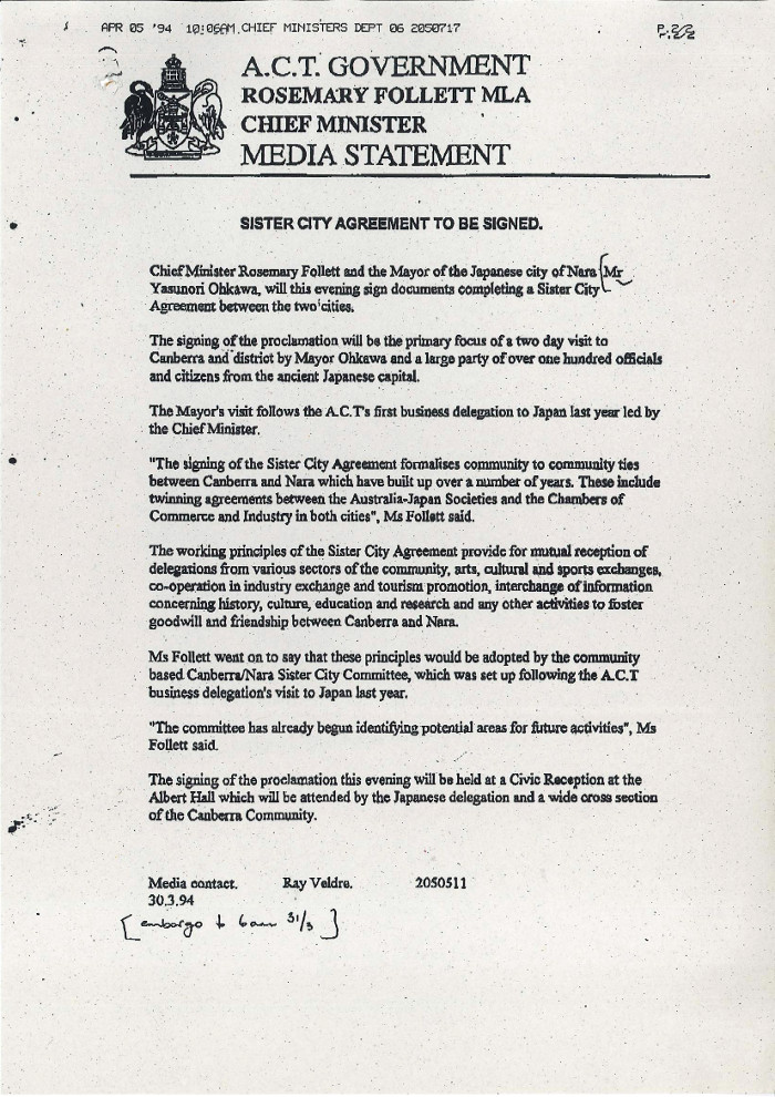 Chief Minister's Media Statement 30/03/1994 - Sister City Agreement to be Signed