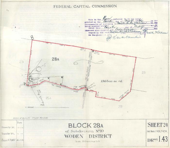 Plan of Woden Block 28A in 1926