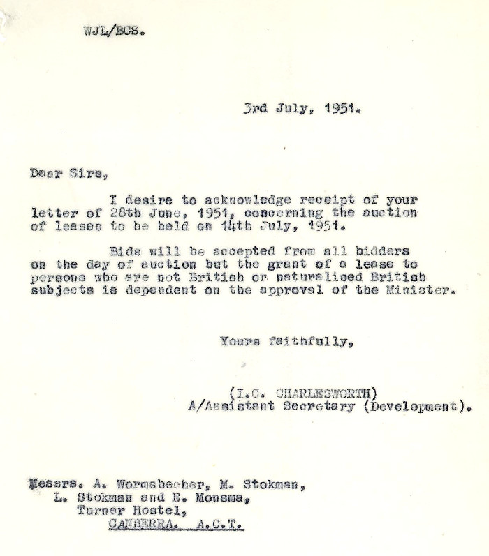 Letter from Department of the Interior Assistant Secretary, I.C. Charlesworth dated 03 July 1951