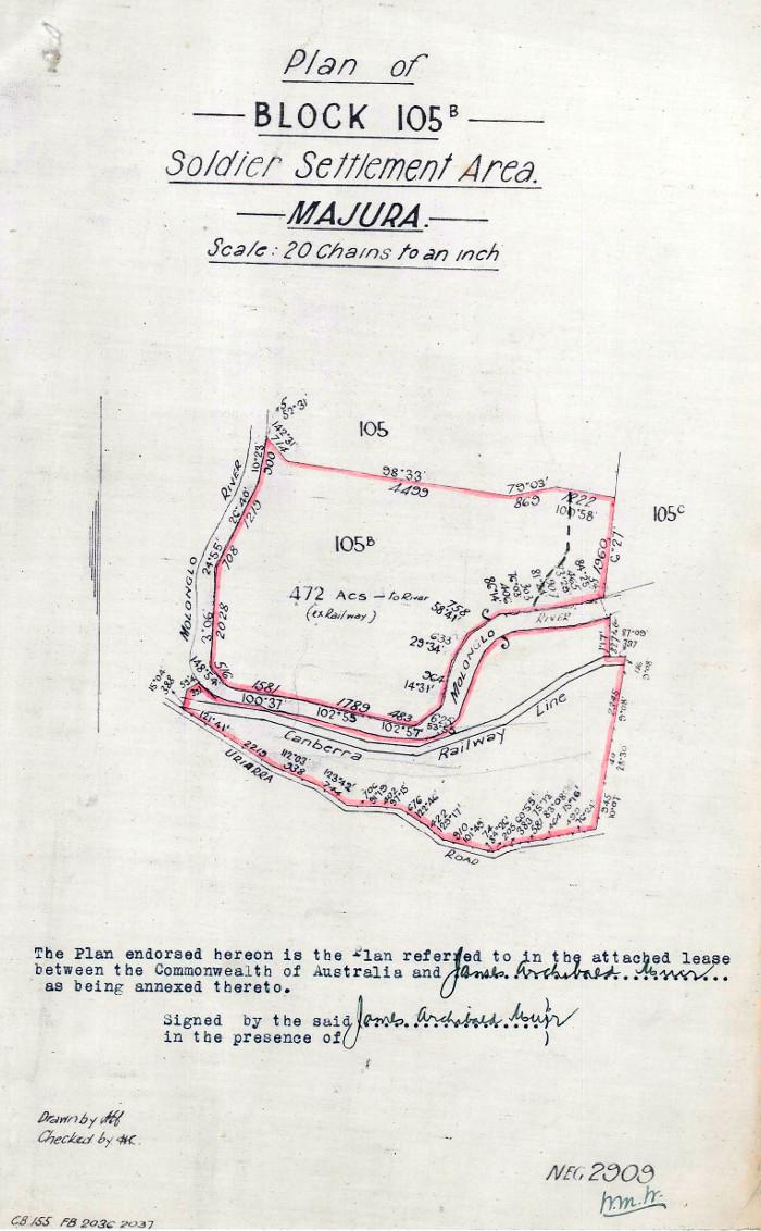 Map of Gungahlin Block 105B in 1920
