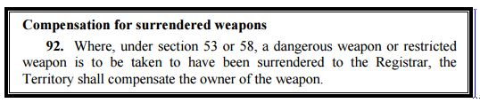 Extract from the Weapons Act 1991 on compensation for confiscated weapons