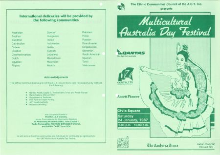 Multicultural Day flier from 1987