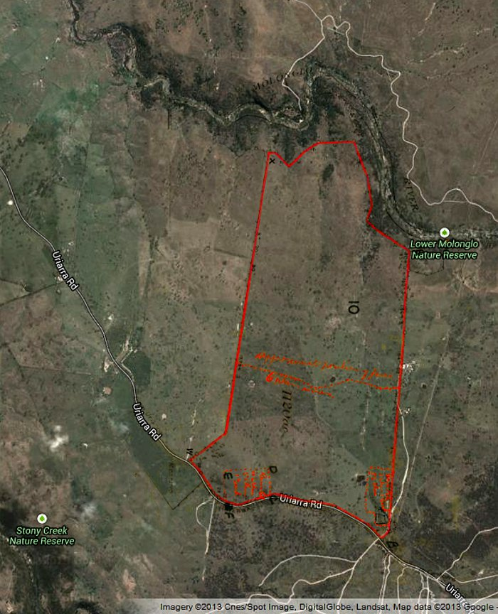 Google Maps image of area c2013 with Stromlo Block 10 boundary in red