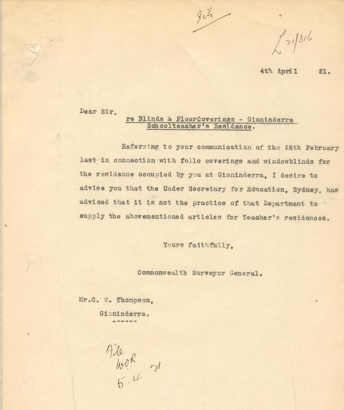 Letter from P.J. Sheaffe to Charles Thompson dated 04/04/1921