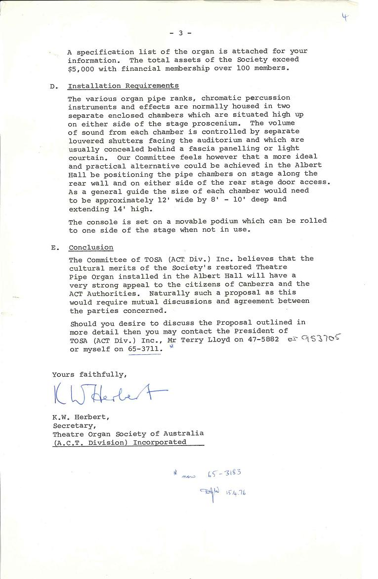 Theatre Organ Society of Australia (ACT) : Proposal to install a pipe organ in the Albert Hall 21/05/1975 - page 3