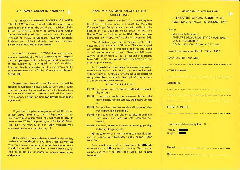 Theatre Organ Society of Australia (ACT) : Membership Form - page 2