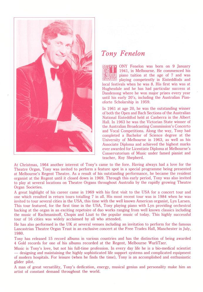 Program for inaugural concert performed by Tony Fenelon 17/08/1986 - page 6