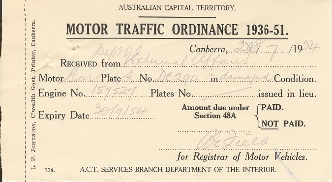 Certificate for returned number plates