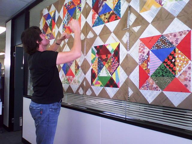 Installation of the Quilt by Paull McKee