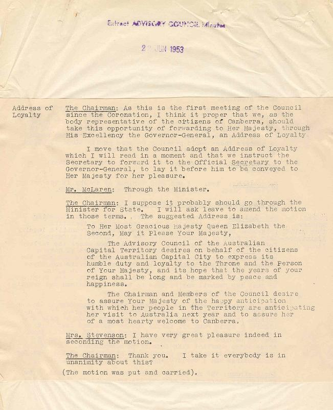 A3392-933 - Advisory Council - Loyal Greetings to Her Majesty the Queen - HRH Duke of Gloucester - Gov General - Addresses of Welcome, etc - Minutes 22/06/1953