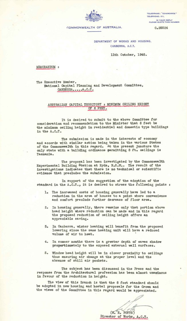 PC35/5/0 - National Capital Planning & Development Committee - Ceiling Heights in Dwellings - Memo dated 11/10/1948